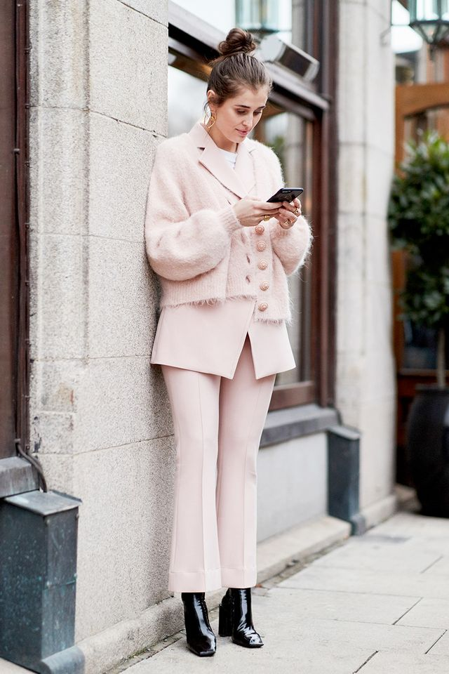 Suiting separates are anything but stuffy in pretty pastels like soft blush.