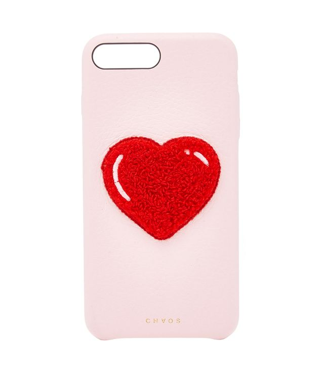 Chaos Embroidered Chenille Heart Leather IPhone X Case