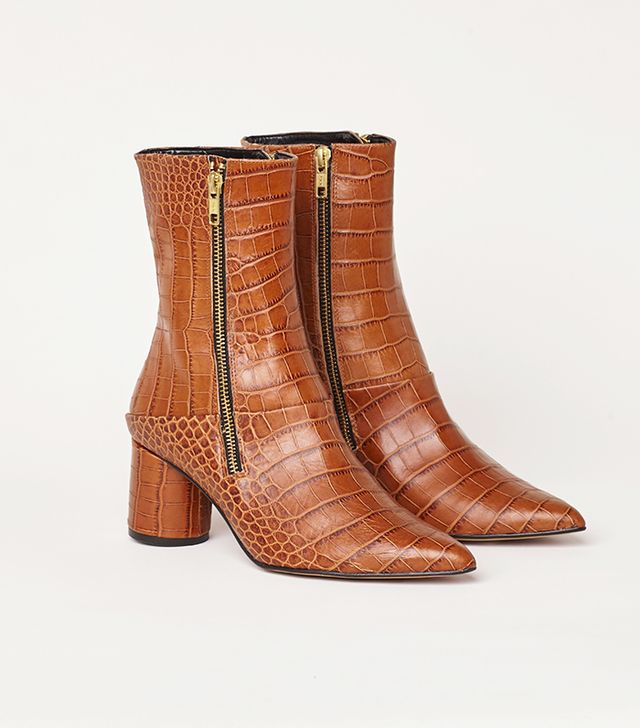 Finery Emilia Tan Leather Croc-Effect Ankle Boot