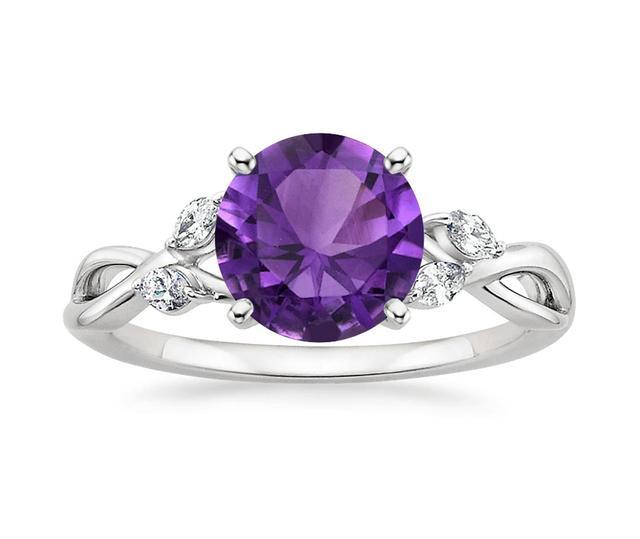 Brilliant Earth Amethyst Willow Diamond Ring