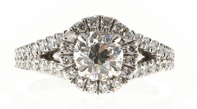 Peter Suchy Platinum Halo Engagement Ring
