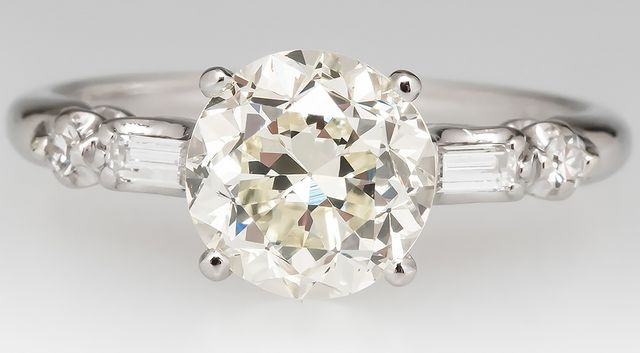 Granat Bros 1930's European Cut Engagement Ring
