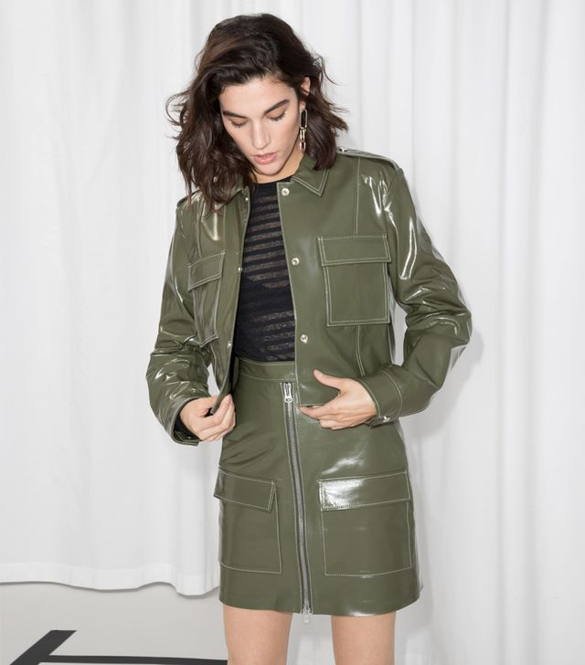 & Other Stories Patent Leather Utilitarian Jacket