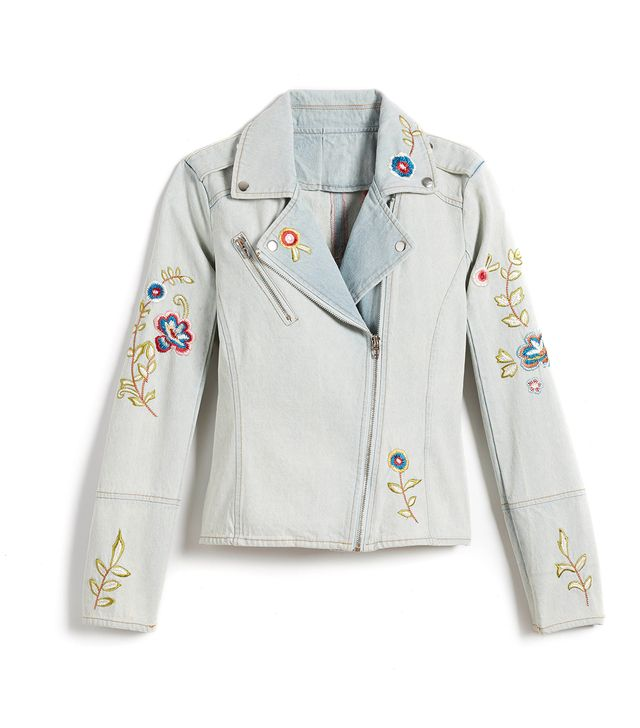 Candie's Embroidered Jean Moto Jacket
