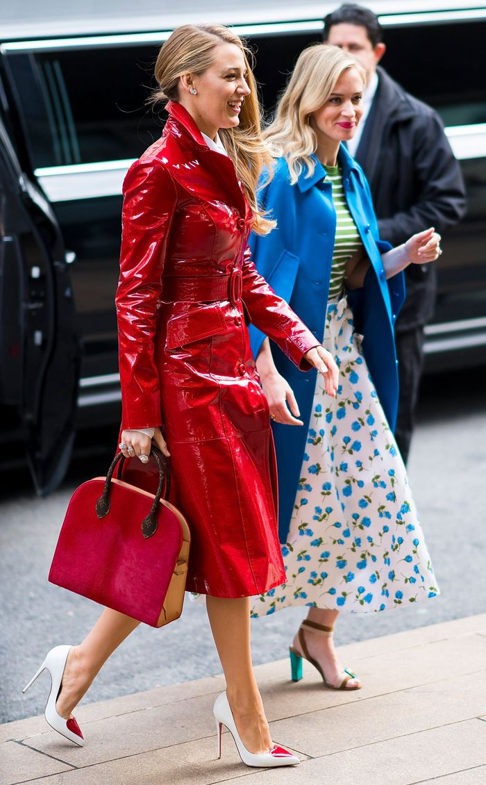 Blake Lively Michael Kors red trench