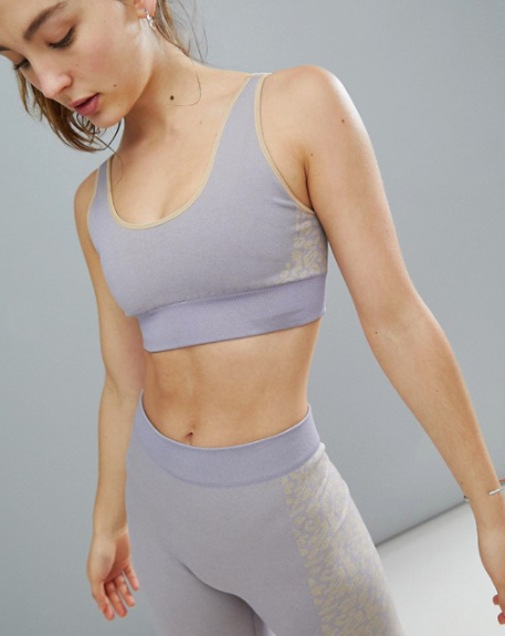 ASOS 4505 Seamless Sports Bra With Leopard Panels