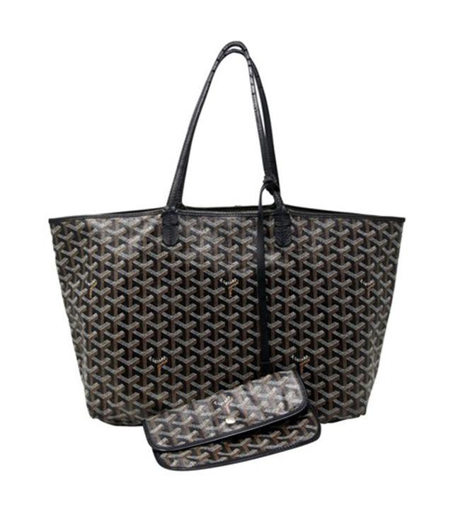 Goyard Saint Louis Luxury Shopper Chevron Hand Made Black Leather Tote