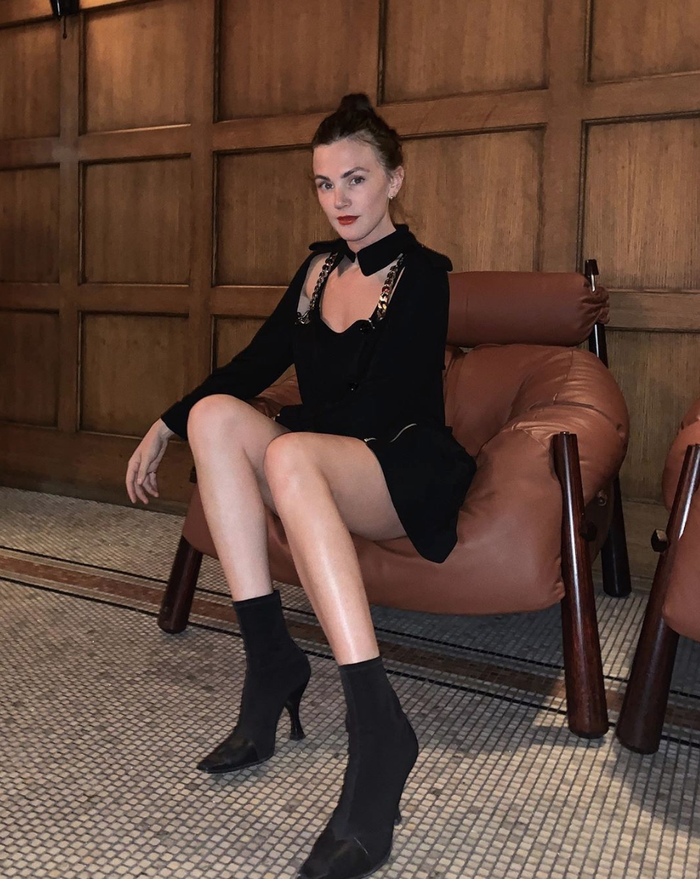 Black dress with sock boots