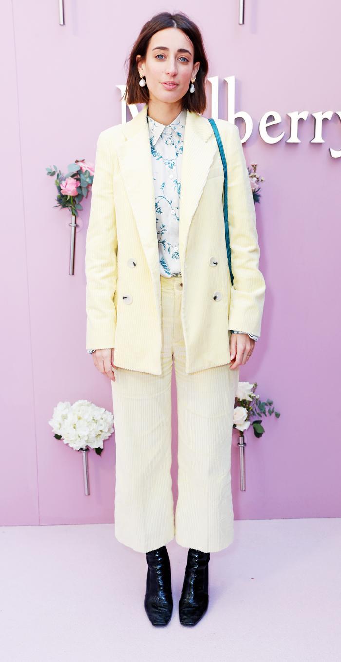 Laura Jackson lemon corduroy suit: