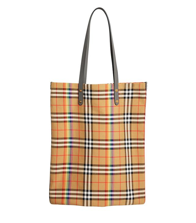burberry show spring 2018: Burberry Large Rainbow Vintage Check Shopper