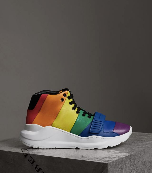 burberry show spring 2018: Burberry Rainbow Leather High-Top Sneakers