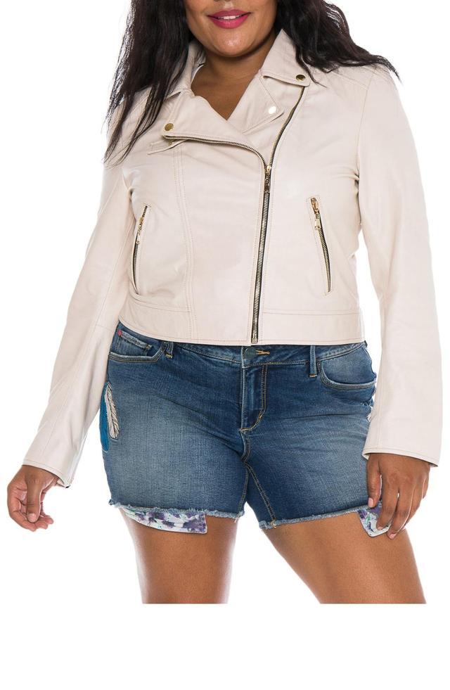 Women's Slink Jeans Crop Leather Moto Jacket