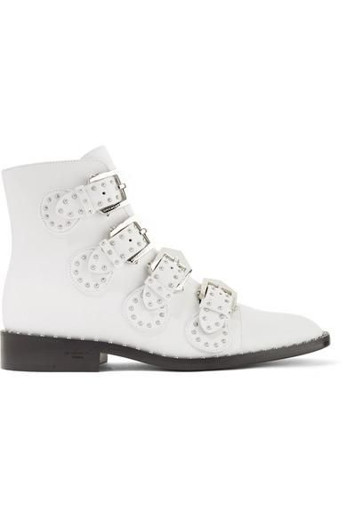 Elegant Studded Leather Ankle Boots