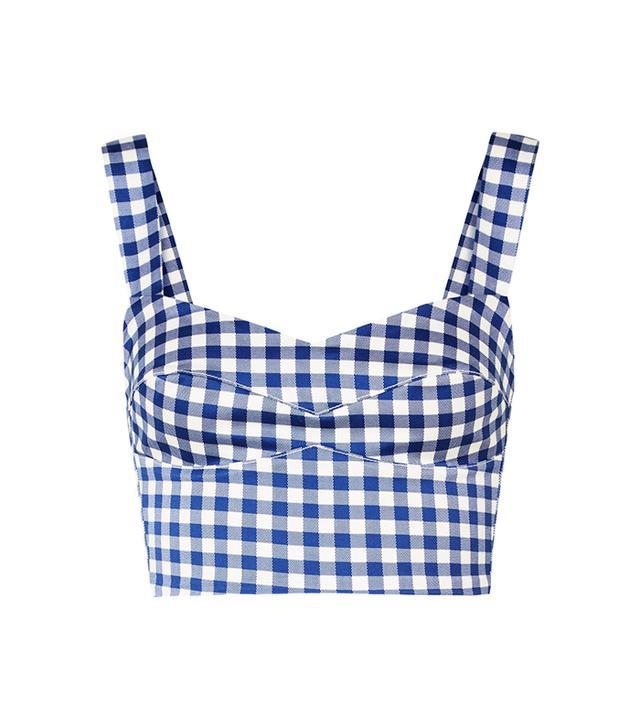 Agnello Gingham Cotton-blend Top