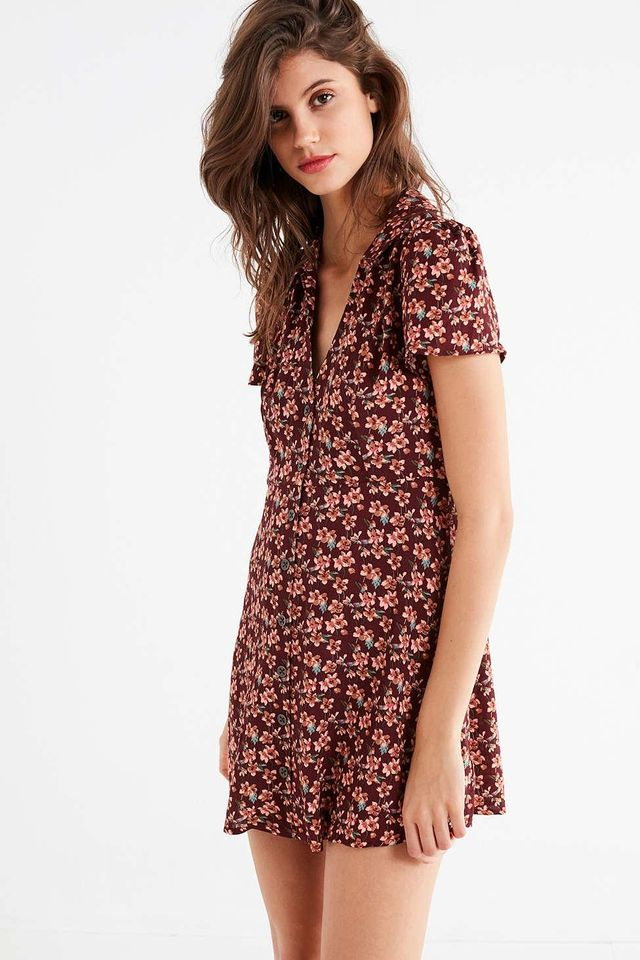 UO Mallory Button-Down Mini Dress