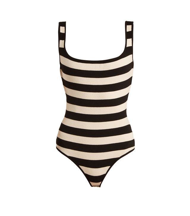 Teresa striped square-neck stretch-knit bodysuit