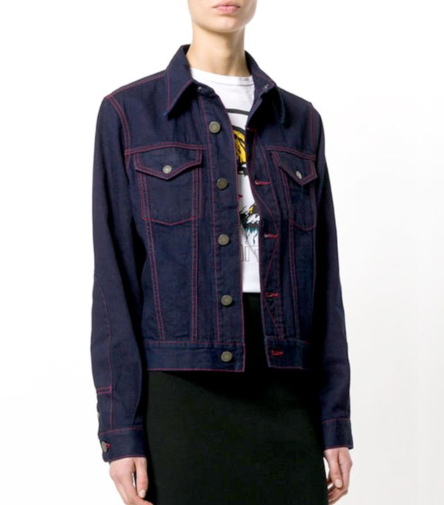 contrast stitching denim jacket