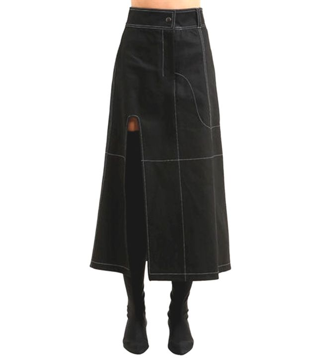 DENIM SKIRT W/ CONTRASTING STITCHING