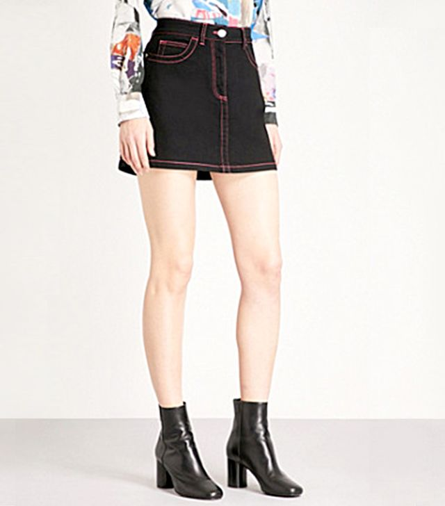 Versus Versace Contrast-Stitched Contrast Stretch-Denim Skirt