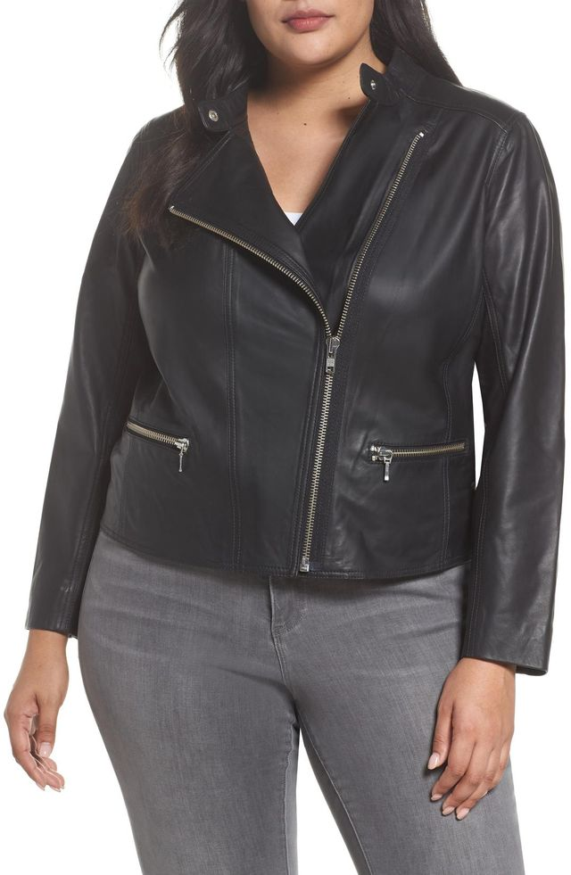Plus Size Women's Halogen Leather Moto Jacket