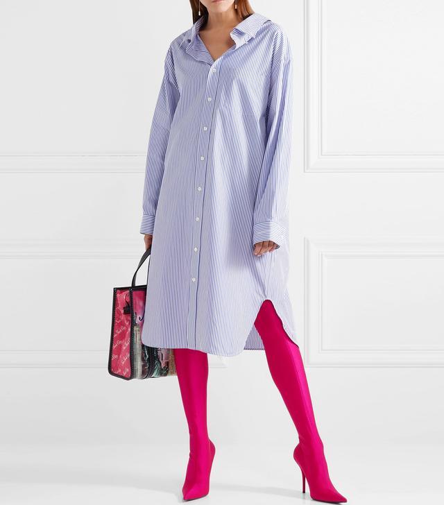 Balenciaga Striped Cotton-Poplin Shirtdress