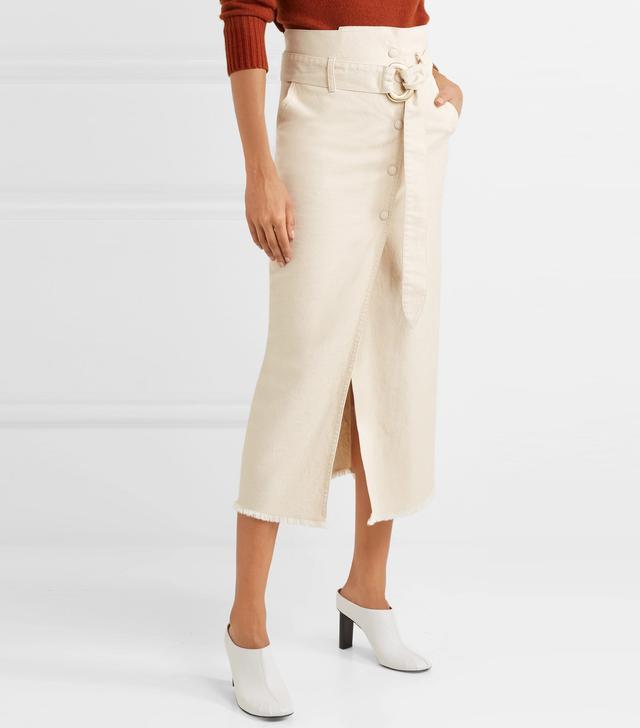 Nanushka Tuli Belted Denim Midi Skirt