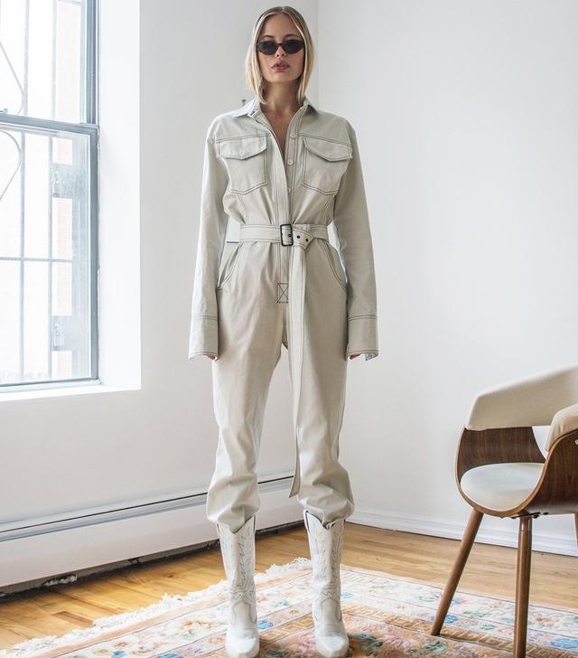 Orseund Iris Workwear Jumpsuit in Off-White
