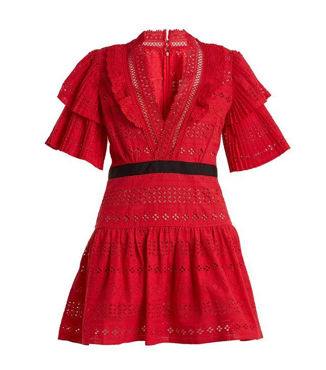Deep V-neck broderie-anglaise cotton dress