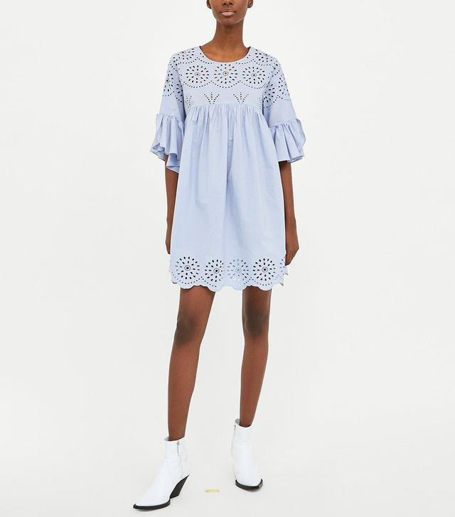 Zara Embroidered Dress With Perforations