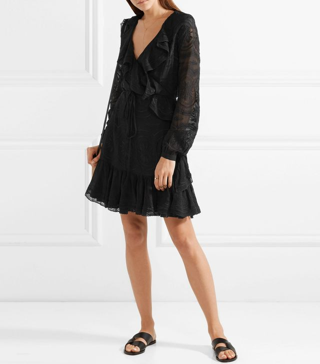 Ruffled Broderie Anglaise Georgette Wrap Mini Dress