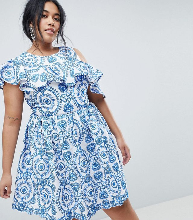 ASOS CURVE PREMIUM Sleeveless Broderie Skater Dress With Ruffle and Open Back