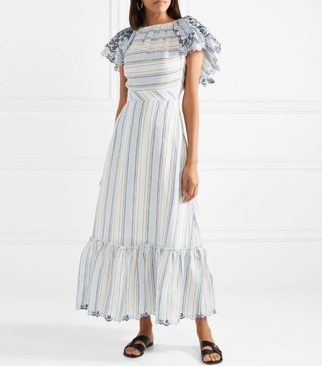 Broderie Anglaise-trimmed Ruffled Linen Midi Dress