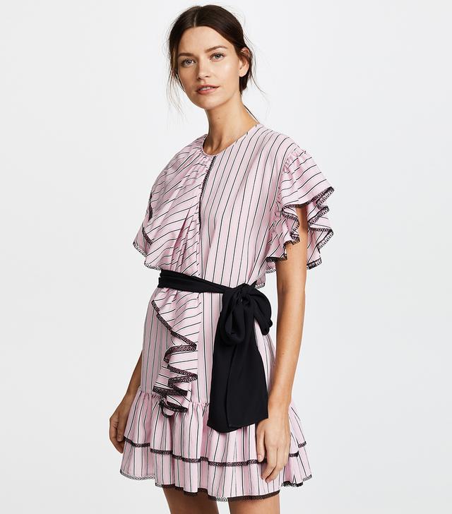 MSGM Striped Ruffle Dress