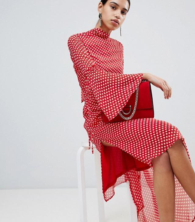 Boohoo High-Neck Polka-Dot Asymmetric Hem Dress