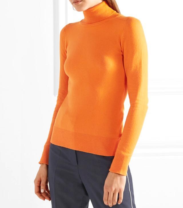 Stretch Cotton-blend Turtleneck Sweater