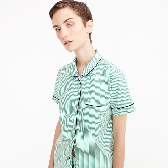 Tipped pajama shirt in green stripes