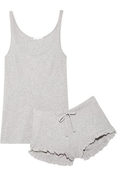 Ruffled Ribbed Pima Cotton-jersey Pajama Set