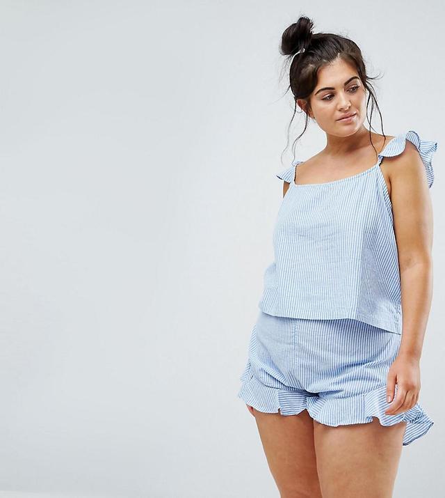 ASOS CURVE EXCLUSIVE Ruffle Cami & Short Pajama Set in Stripe