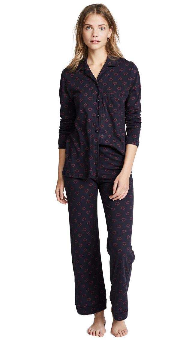 Twin Hearts Piped Pajama Set