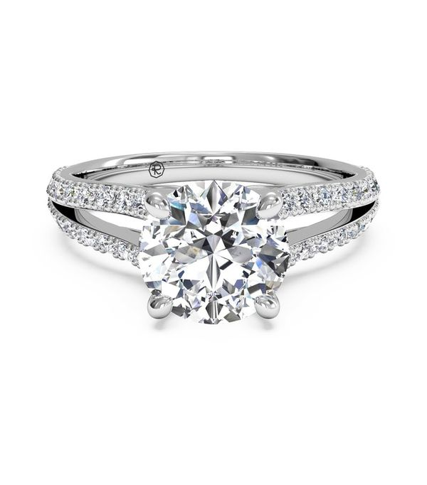 Double French Set Diamond V Engagement Ring With Surprise Diamonds