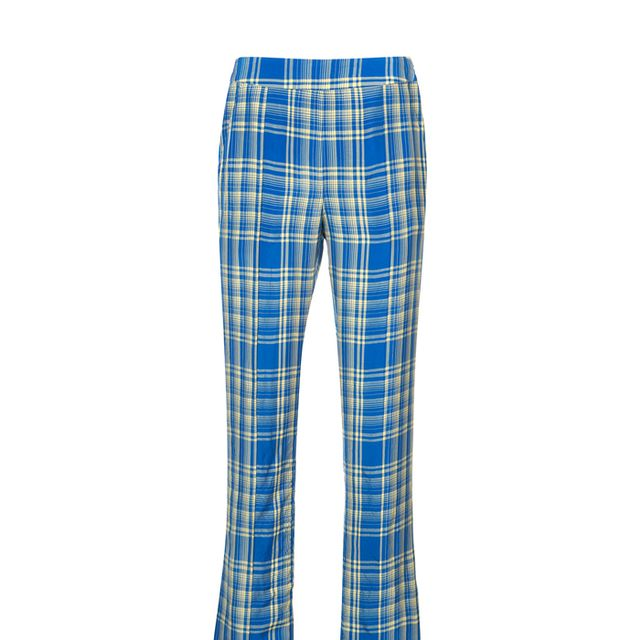 crinkled plaid trousers