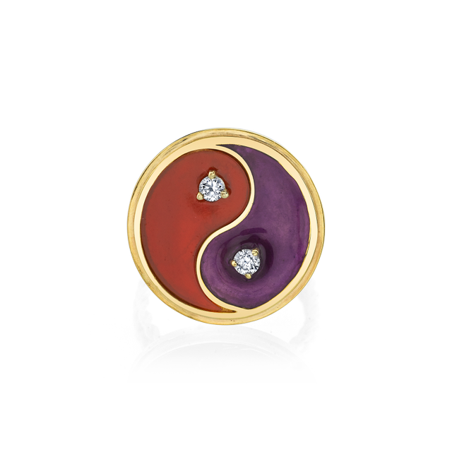 The Last Line Diamond and Carnelian Yin Yang Ring