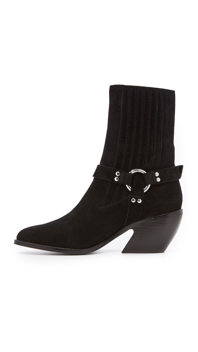 Shayenne Suede Harness Ankle Booties