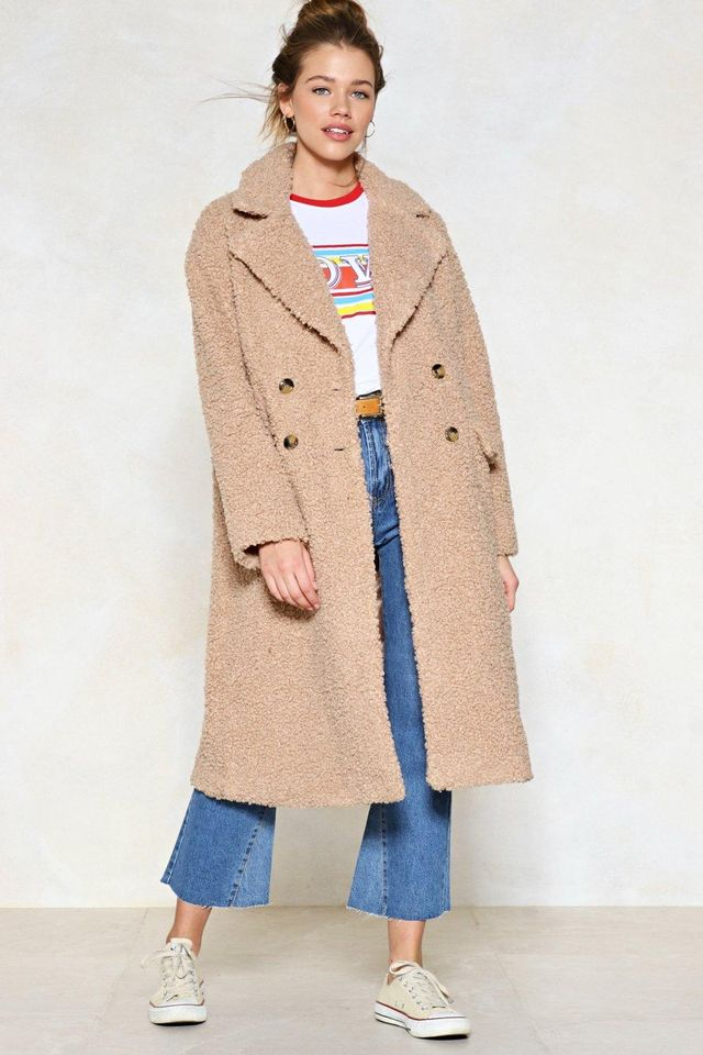 Nasty Gal Teddy Or Not Faux Shearling Coat