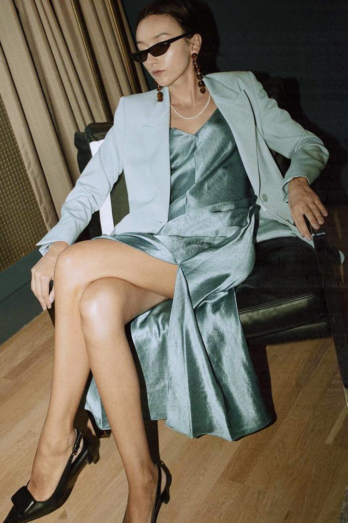 Best blue coats: Beatrice Gutu wearing Stella McCartney jacket