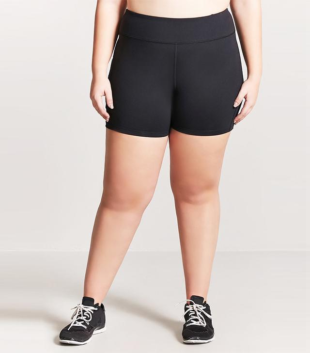 Plus Size Active Mesh Insert Shorts