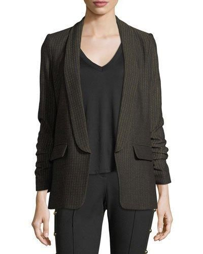 Veronica Beard Clay Open-Front Shawl-Lapel Boyfriend Blazer