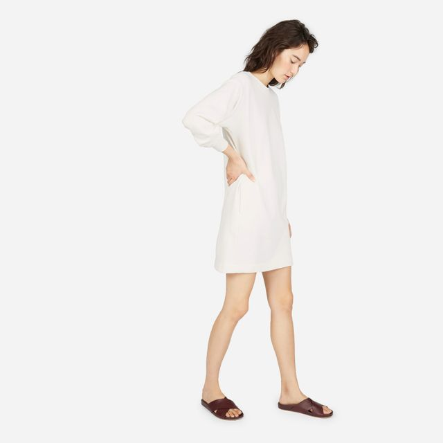Women's Classic French Terry Crew Neck Dress Sweater by Everlane in Bone, Size XL