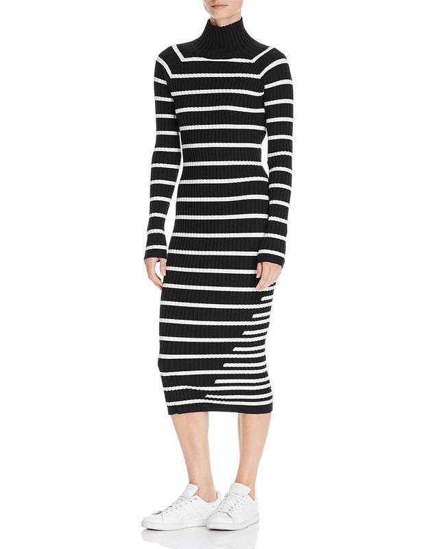 T by Alexander Wang Striped Body-Con Sweater Dress