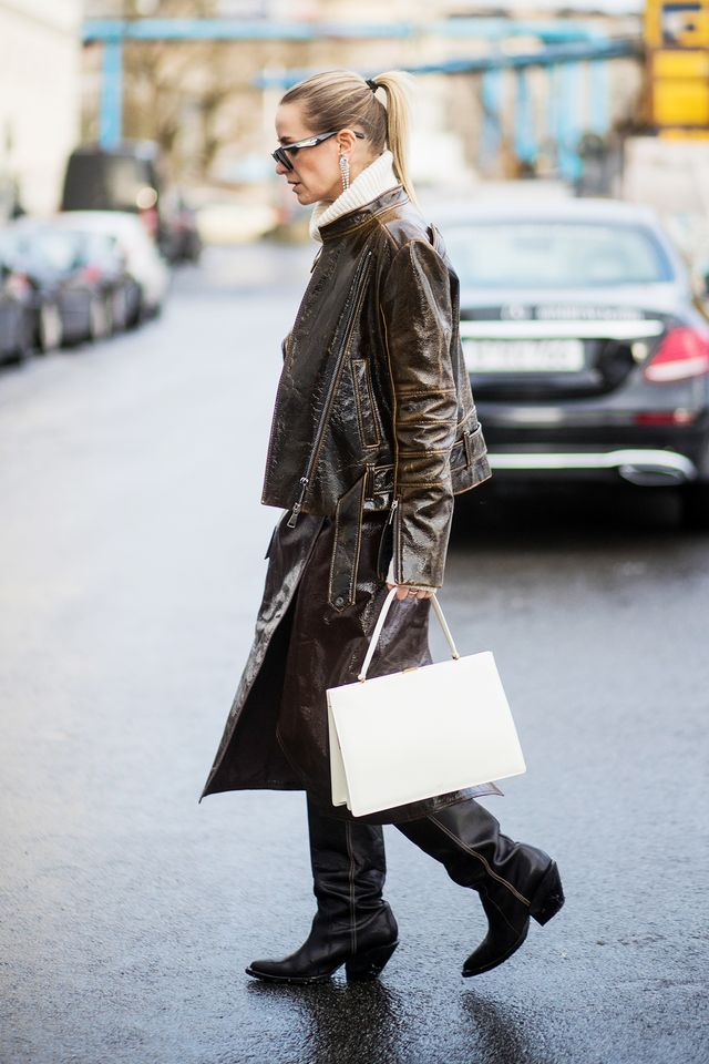 Another A+ moment of balancing two opposing styles can be found in this winning look, combining the polish of a structured handbag with the toughness of Western-style boots and a...